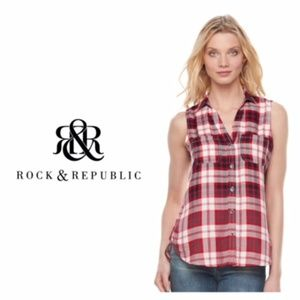 Rock & Republic Sleeveless Red Plaid Top L NWT